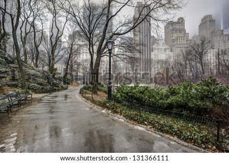 Central Park, New York City after rain storm on sidewalk - stock photo
