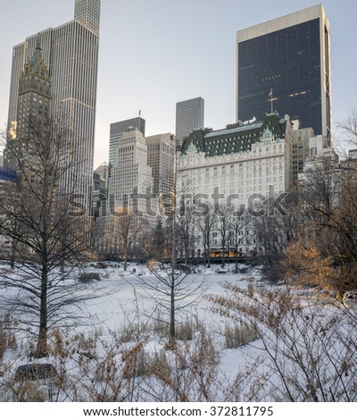 Central Park, New York City after snow storm near the Plaza hotel - stock photo