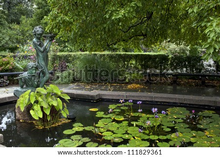 Central Park, New York City Burnett Memorian fountain in summer with water lily