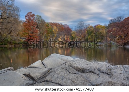 Central Park - New York City by the lake in late autumn - stock photo