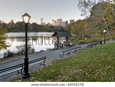 Central Park, New York City, by the lake in the early morning - stock photo