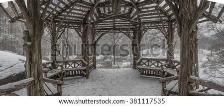 Central Park, New York City during snow storm 2/15/2016, 4:07:57 PM at the Rustic shelter - stock photo