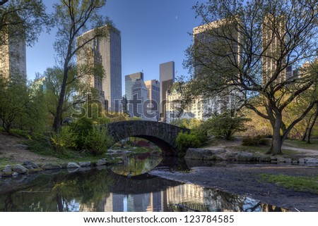 Central Park, New York City early spring at the Gapstow bridge - stock photo