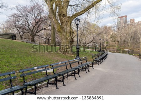 Central Park, New York City early spring with flowers - stock photo