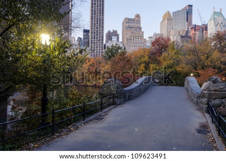 Central Park, New York City Gapstow bridge in autumn - stock photo