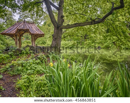 Central Park, New York City gazebo at Wagner Cove in summer - stock photo