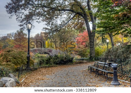 Central Park, New York City in autumn near 59th street Gapstow Bridge - stock photo