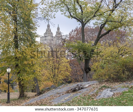 Central Park, New York City in Autumn on cloudy day - stock photo