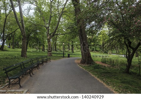 Central Park, New York City in early spring on upper west side - stock photo