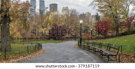 Central Park, New York City in late autumn, early morning - stock photo