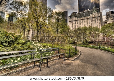 Central Park, New York City in spring at pond - stock photo