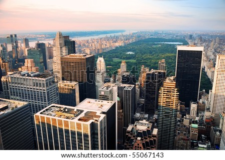 Central park, new york city skyline aerial view - stock photo