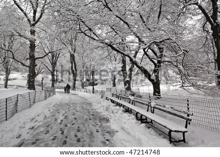 Central Park - New York City snow storm with slush on sidewalks - stock photo