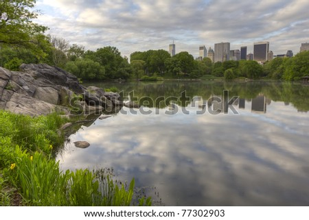 Central Park, New York City spring by the lake in the early morning - stock photo