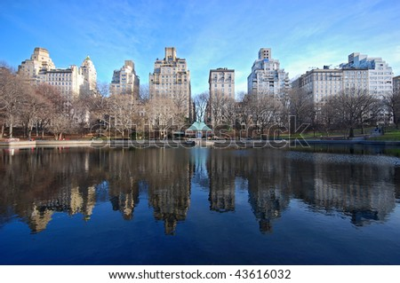 central park new york view - stock photo