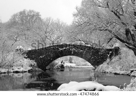 Central Park - NYC after snow storm - stock photo