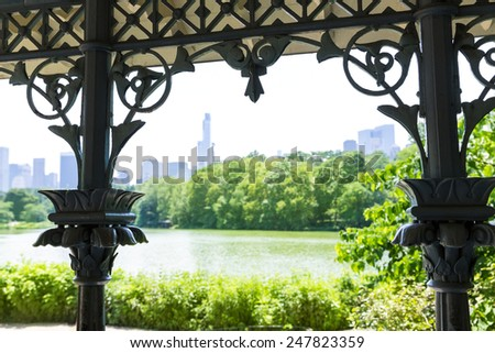 Central Park The Lake Manhattan New York US - stock photo