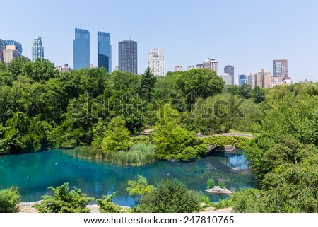 Central Park The Pond Manhattan New York US - stock photo
