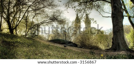 Central Park - west side, New York City,Manhattan,United states of  America - stock photo