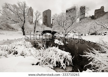 Central Park winter with skyscrapers and bridge in midtown Manhattan New York City - stock photo