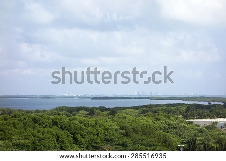 Central part of Nichupte laguna as seen from El Rey Zona, Benito Juarez, Cancun, Mexico - stock photo