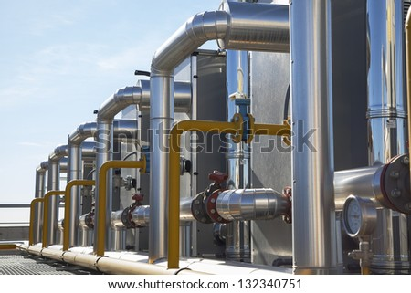 Central Plant of Heating system - stock photo