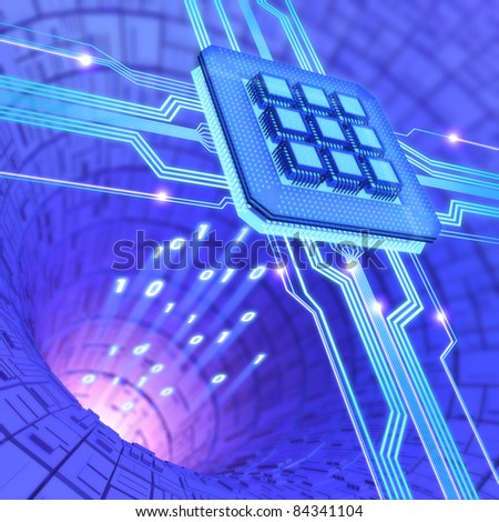 Central Processing Unit. A processor (microchip) interconnected receiving and sending information. Concept of technology and future. - stock photo