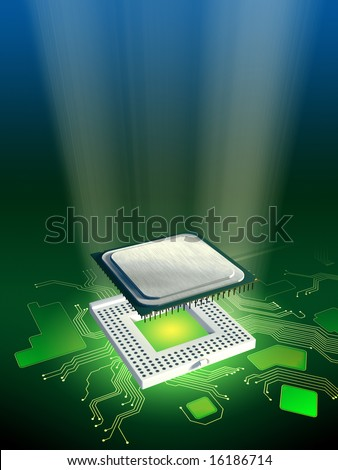 Central processing unit and socket on a printed circuit board. Digital illustration. - stock photo