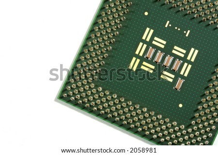 Central processing unit chip view with a macro over a white background.