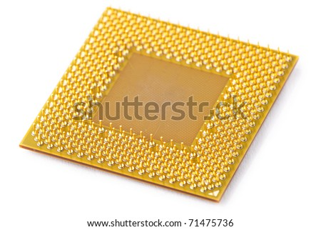 central processing unit, CPU from a Personal Computer isolated against a white background - stock photo