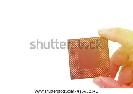 Central Processing Unit (CPU) in hand isolated on white background. - stock photo