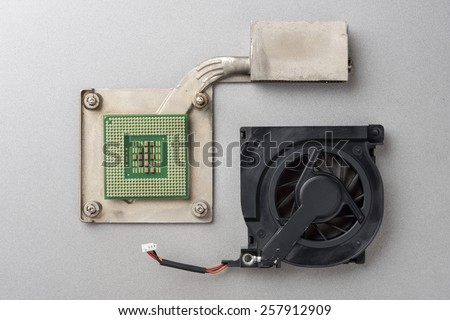 Central Processing Unit (CPU) on the heatsink (cooler) - stock photo