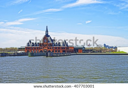 Central Railroad of New Jersey Terminal, USA, in Hudson Waterfront. Hudson River. Ferry slips serving boats. - stock photo