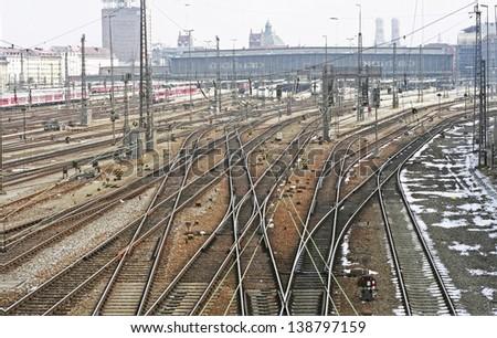 Central railway station im Munich - stock photo