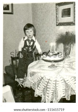 Central Slovakia, CZECHOSLOVAK REPUBLIC, CIRCA 1975 - happy birthday ! - circa 1975 - stock photo