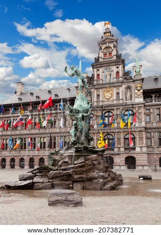 Central square and Brabo statue in Antwerpen, Belgium  - stock photo