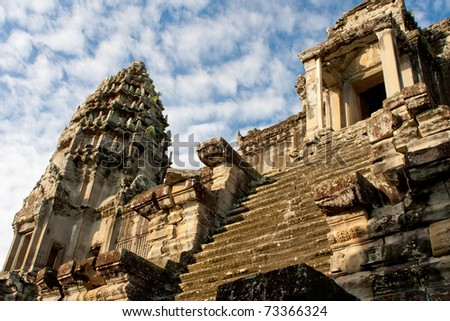 Central Tower of Angkor Wat Temple. Cambodia.
