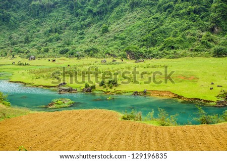 Central Vietnam - mountain landscape with river - stock photo