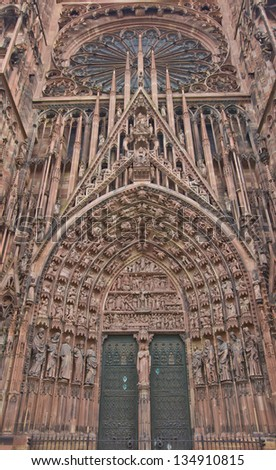 Central (west) portal of the Cathedral of Our Lady of Strasbourg (Cathedrale Notre-Dam, circa 1439).  Sculptures show Bible stories