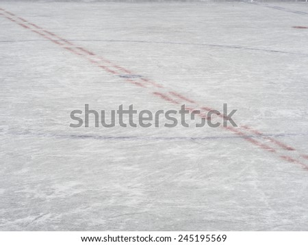 Centre ice markings of an hockey rink, winter sport background - stock photo