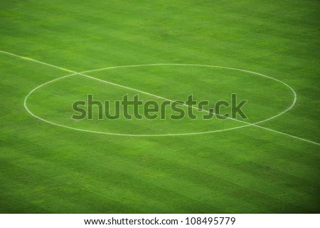 Centre Of Football Field - stock photo