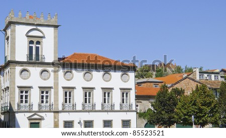 Centre of Guimaraes, medieval  town located in north of Portugal,Unesco world heritage. - stock photo