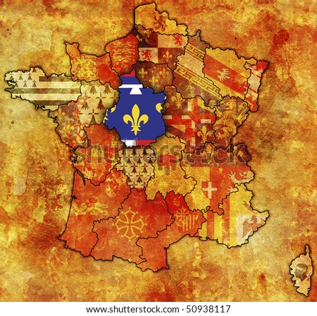 Centre on old map of france with flags of administrative divisions