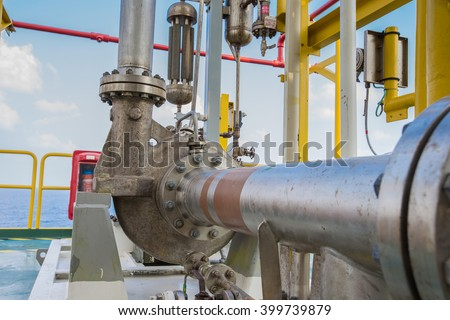 Centrifugal pump in oil and gas processing platform used for transfer liquid condensate - stock photo