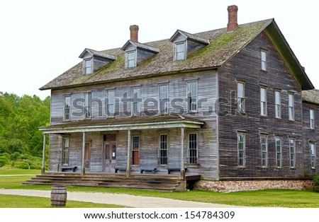 Century old hotel located at the ghost town of Fayette. Fayette State Park. Fayette, Michigan. - stock photo