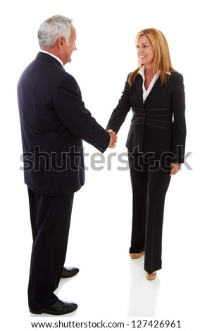 CEO and business woman shaking hands at meeting isolated on white.