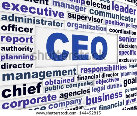 CEO business words concept. Business leader conceptual background