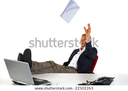 CEO is throwing with the result of the company - stock photo