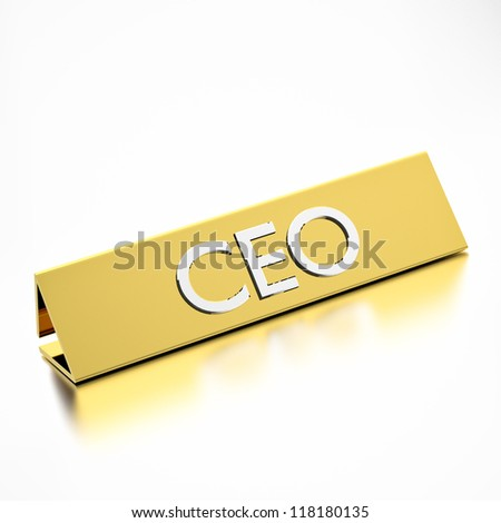 CEO job title on nameplate, for career professions. 3d render. - stock photo