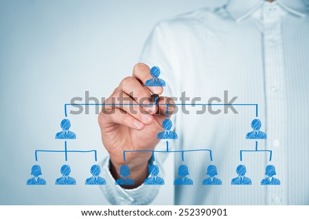 CEO, leadreship and corporate hierarchy concept - recruiter complete team by one leader person (CEO). - stock photo